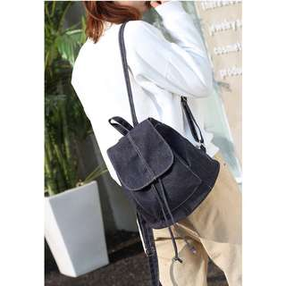 Denim Canvas Jeans Style Small Drawstring Casual Fashion Women Bagpack Bag Pack
