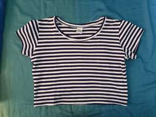 Crop top stripe blue
