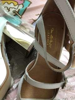 Sale!! Price down! White high heels sandals Genuine leather