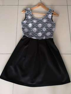 Lace top flare cut dress