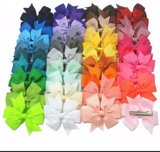 (PO) 40pcs Grosgrains Ribbon Bow with Hair Clip Baby/Women