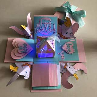 Dumbo elephant explosion box with lighthouse , 4 waterfall in Tiffany and pink