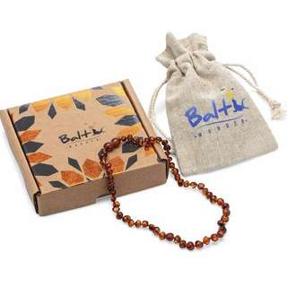 [IN-STOCK] Baltic Amber Teething Necklace For Babies (Unisex) (Cognac) - Anti Flammatory, Drooling & Teething Pain Reduce Properties - Natural Certificated Oval Baltic Jewelry with the Highest Quality Guaranteed
