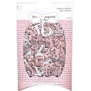 Chipboard alphabet pink newsprint craft