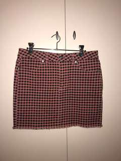 pink checkered skirt