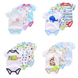 (PO) 3 Pieces/lot Brand Summer Baby Girls and Baby Boys Romper Animal style Short Sleeve cotton infant rompers