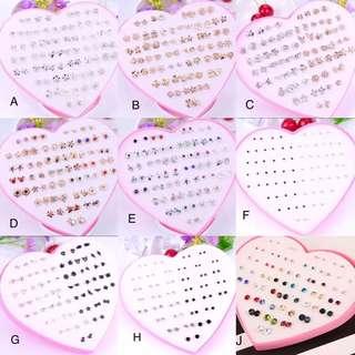 (PO) 36 Pairs Cartoon Hypoallergenic Plastic Stud Earrings Set For Baby Girl
