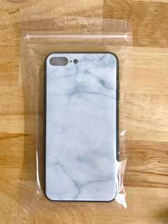 Iphone 7 Plus case (light blue marble print with acrylic cover)