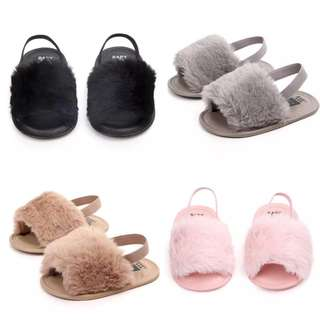 (PO) Sandals for Girls Baby Shoes Newborn Pu Plush Baby Girl