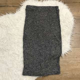 Ally fashion charcoal grey woven ribbed maxi skirt size 6