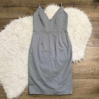 Luvalot grey deep v midi dress size 8