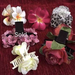 Assorted flower hair clips