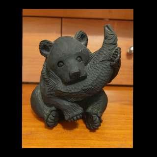 日本手工陶器 熊叨魚