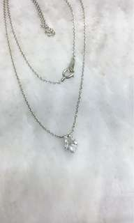 10K Japanese White Gold Chain with 1 Brill Pendant