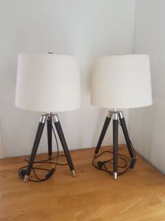 Leather and chrome side table lamps - ONO