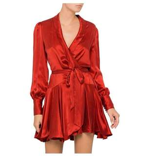 Zimmermann Red wrap silk dress