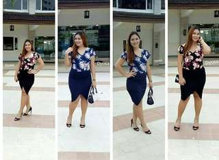 PLUS SIZED TERNO BLOUSE + SKIRT