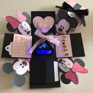 Mickey Minnie proposal explosion box with lighthouse  , 4 waterfall in pink , black and Gold