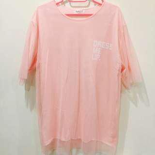 🚚 全新* 粉色 假兩件拼接網紗 文字長版上衣 洋裝 連衣裙
