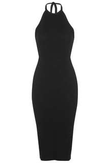 TOPSHOP Halterneck / halter neck black midi dress