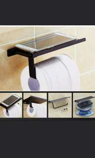 Black Toilet Roll Holder With Top Holder