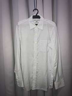 Uniqlo White with blue checkered lines Long Sleeves Polo