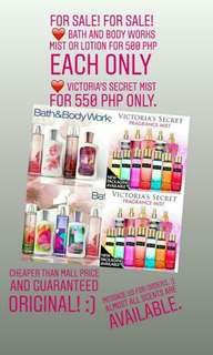 Bath and Body Works Lotion and Mist and Victoria's Secret Mist