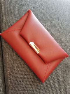 Faux leather red purse
