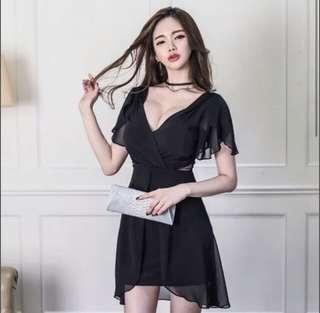 Black chiffon low cut body con dress
