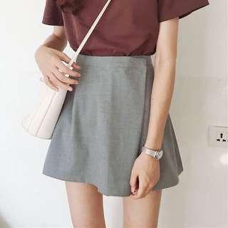 🚚 灰色短褲裙-M