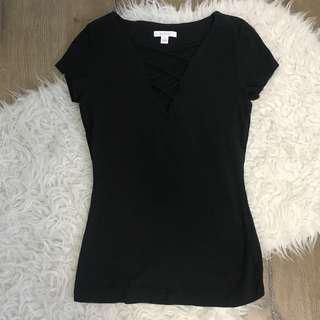 Kookai criss cross tie lace t shirt tee in black size 1 6-8