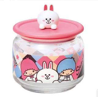 Sanrio Line Friends 3D Cony 7 11 glass container
