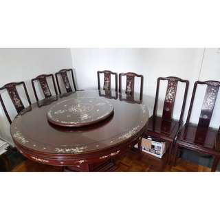 MOTHER-OF-PEARL - CHINESE ROSEWOOD DINING SET + SIDE TABLE + SMALL TABLES