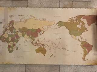 Paper World Map with PVC cover and stickers