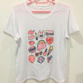 🚚 全新* 正韓 小圖拼接蕾絲布亮片文字造型短T 短袖上衣 T恤