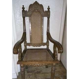 Antique Spanish Inlaid Chair