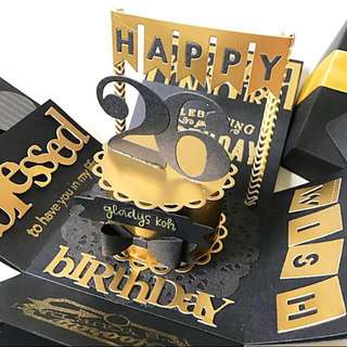 Happy 26 birthday Explosion Box card in black and gold