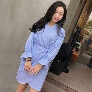 [PO] Stripe Shirt Wrap Dress
