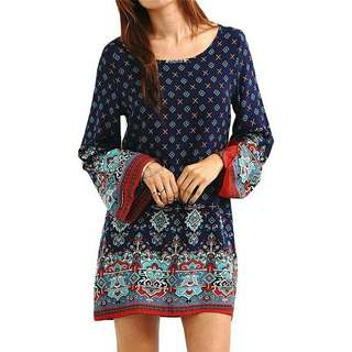 Ethnic Mini Long Sleeve Dress