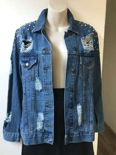 Distressed Denim Jacket M