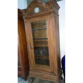 Antique Wood and Glass Cabinet#1