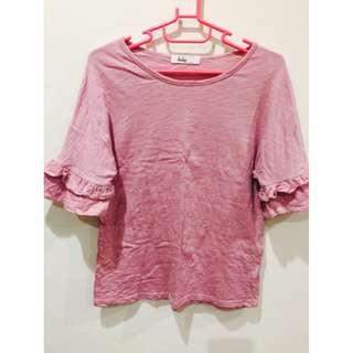 🚚 二手* 超美粉色造型荷葉袖上衣 T恤 短T