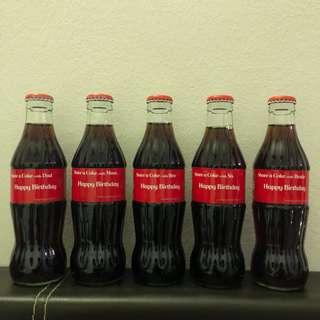 Coca Cola Glass Bottle Happy Birthday