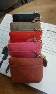 🚚 @#牛皮流蘇縫虛線零錢包 🦋🦋🦋限量特價真皮$480/ 有出零錢包和手拿包,超級可愛