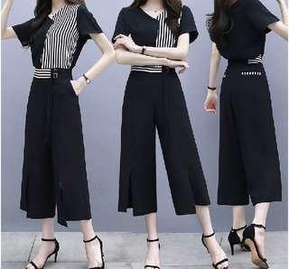 82051 #大碼休閒闊腿褲+拼接条纹上衣 兩件套  颜色: 黑色套装   尺码: XL 2XL 3XL 4XL 5XL