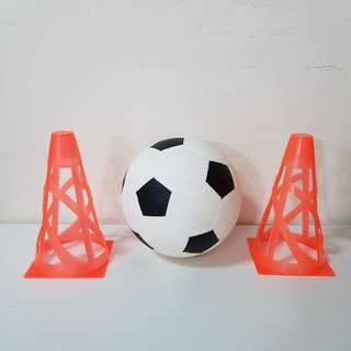 Rubber Soccer Ball with goal cones