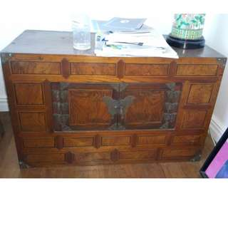 Antique Wooden Camphor Chest with Butterfly Design