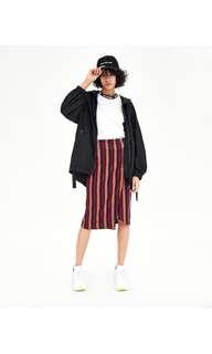 🚚 Zara 彩色條紋不對稱中長裙 彈性長窄裙 開衩裙 (M)