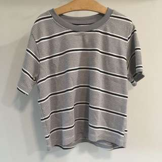Alexis Grey Striped Cropped Loose Knit Top