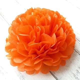 Party Tissue Pom Pom Flowers (Orange)